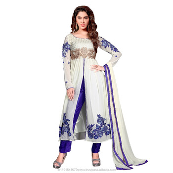 cec24ee4e1 Party Wear Semi Stitched Salwar Suit/Fancy Churidar Dress/Floral Worked  Indo Western Dresses