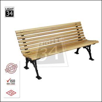 Wooden Slats Cast Aluminum Garden Furniture Outdoor Bench Metal Bench