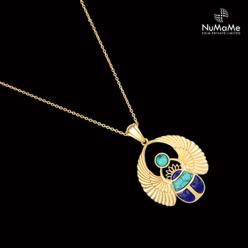 Statement ancient egyptian scarab pendant necklace handmade in gold statement ancient egyptian scarab pendant necklace handmade in gold plated 925 sterling silver with lapis aloadofball Gallery