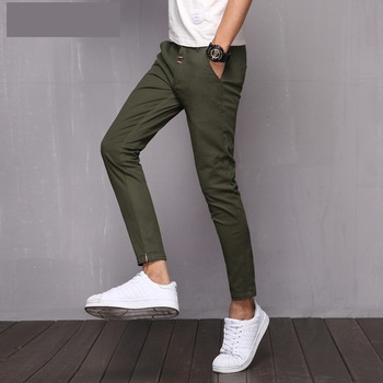 47a6bbd800544a Casual Mens Ankle Length Slim Fit Chino Pants Trousers - Buy ...
