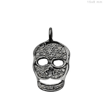 b621851fc8 925 Sterling Silver Skull Charm Pendant Pave Diamond Indian Fashion Jewelry  Wholesale Charms