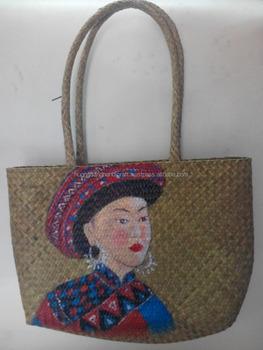 Unique Style Sedge Handbag With Hand Painted Lowest Price Bag From Hanoi Vietnam