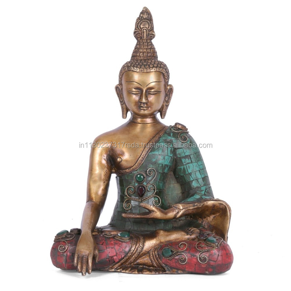 Brass Bhumisparsha Buddha Statue Indian Antique Finish Turquoise Handicrafts Inlay Earth Touching Thai figure