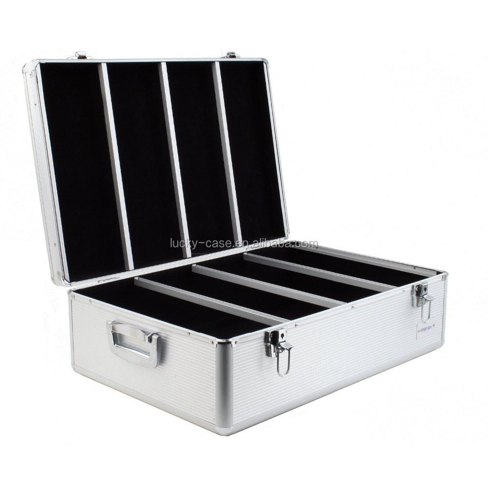 Aluminum hard cd case 900 capacity cd holder cases diamond silver color for cd dvd media - Dvd case holder shelf ...