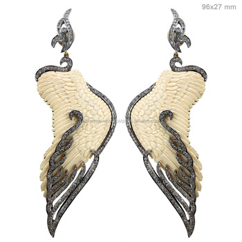 Carved Bone Earrings 925 Sterling Silver Pave Diamond Long Gemstone Angel Wings Dangle Designer Jewelry