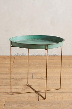 Gold Iron Side Table With Green Antique Tray On Metal Stool Vintage Coffee