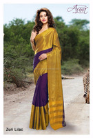 Golden & Purple Color Combination South Indian Cotton Silk Saree on wholesale price