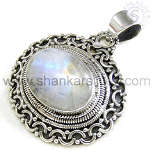 Incredible Design 925 Silver Jewelry Rainbow Moonstone Pendant PNCB1200-8