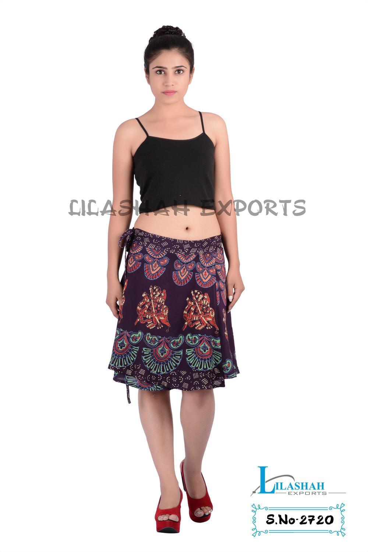 2720 Rayon Mandala Block Printed Mini Skirt Garments Ladies ...