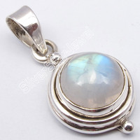 925 Sterling Silver Dazzling RAINBOW MOONSTONE INDIAN JEWELLERS Pendant 1 Inches