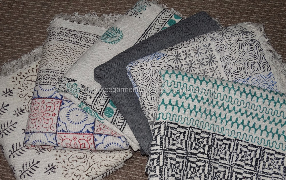 Handwoven Indian Hand Block Printed Indigo Cotton made Area Traditional Dhurrie Indian Hand Block Printed cotton rugs Dabu
