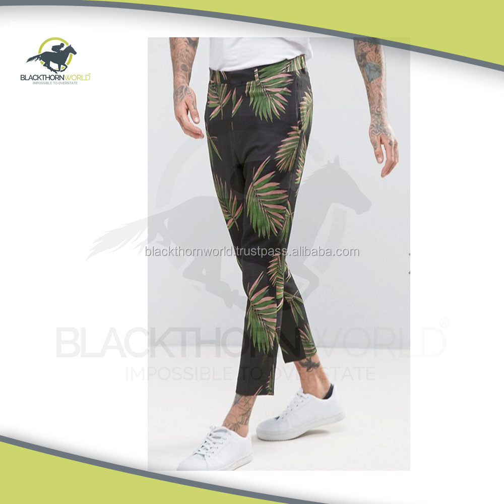 Slim fit floral lined printed cotton pant, Sports Trouser for Golf,Professional Golf range for OEM and ODM Service ,Anti-Wrinkle