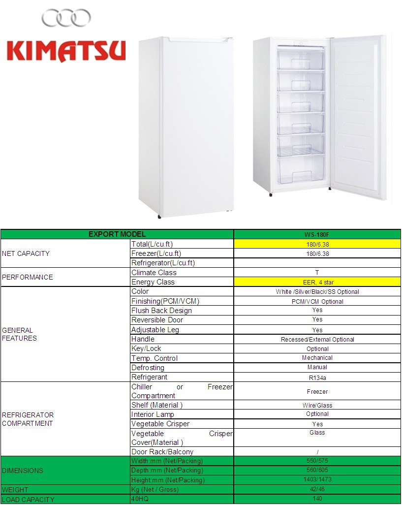 Kimatsu's Best selling air cooling commercial stainless steel stand up fridge refrigerator upright freezer