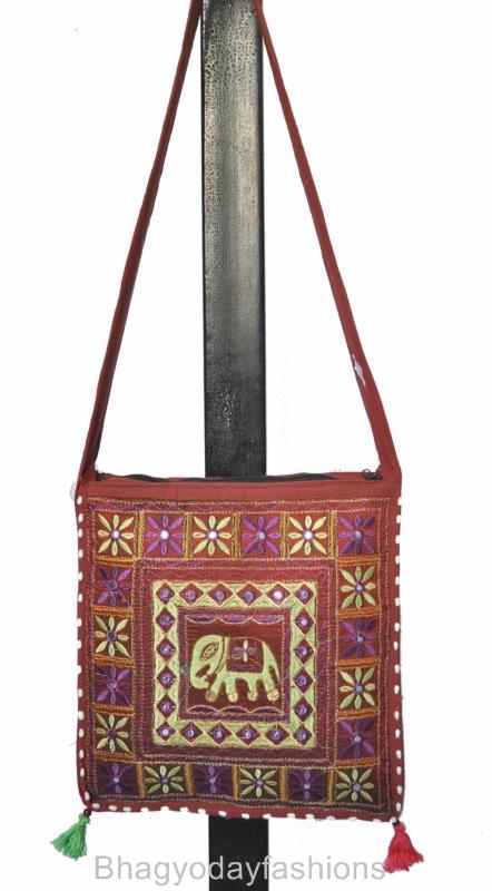Ethnic Indian Bag Cross Body Boho Tribal Art Sling Tote Style ...
