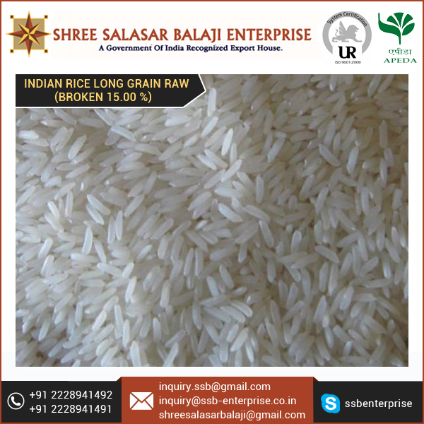 High Nutrition Value 15% Broken Long Grain Rice Available at Leading Market Price