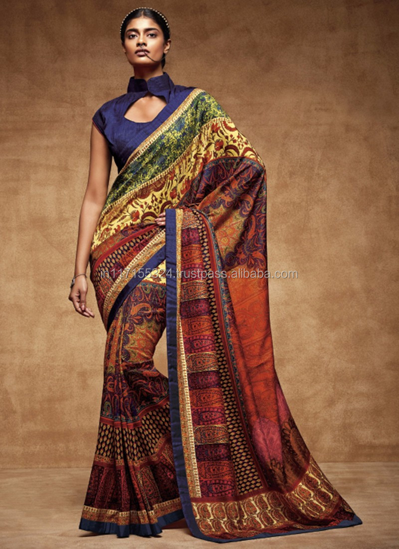 8593dd66551a2 Fancy saree blouse designs - Printed Designer Fancy Party wear saree -  Indian saree low prices