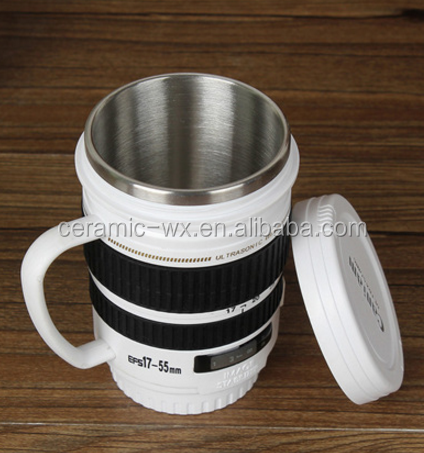 Hot Sale Nikon Lens Coffee Cup Stainless Thermos Mug With Handle - Nikon coffee cup lens