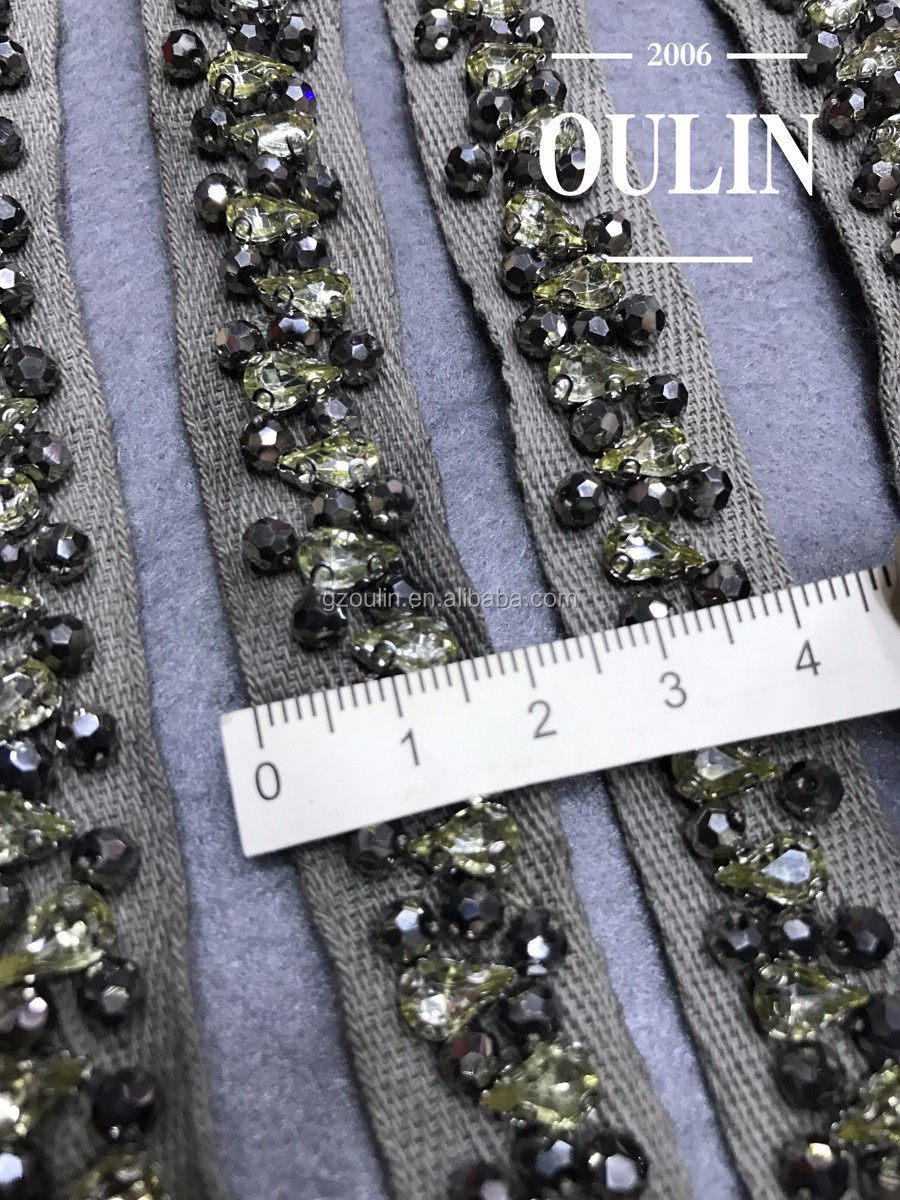 Rhinestone lace 2017 new model design Rhinestone beaded lace handmade Rhinestone lace for clothing