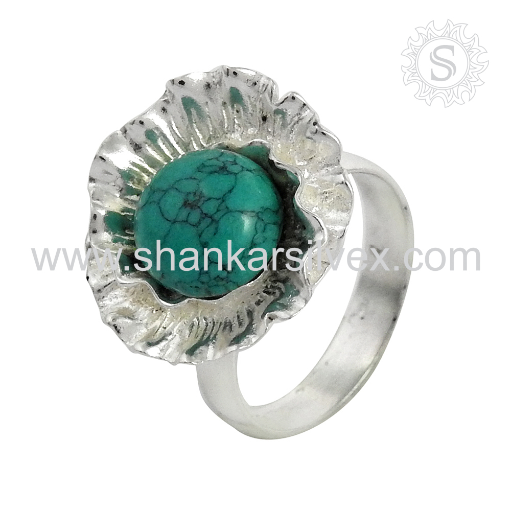 Exceptional Turquoise Finger Ring for Women Wholesale 925 Sterling Silver Jewelry Supplier Gemstone Ring Indian Silver Jewelry