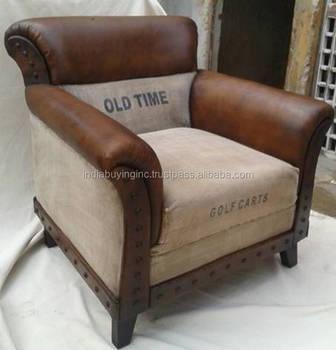 Canvas Leather Single Seater Sofa 2