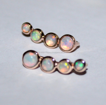Ethiopian Opal Sterling Silver Crawlers Climbers Cuff Earrings For Women