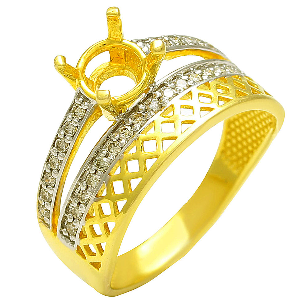 14k Semi mounting Ring in gold with diamonds
