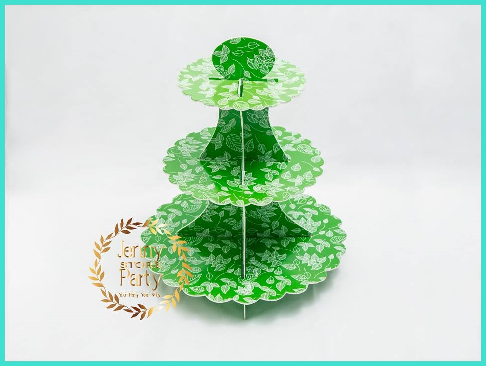 Leaf Pattern Kids Theme Parties ECO friendly Disposal Cake Stand 3 tier Paper Small order Party Supplies