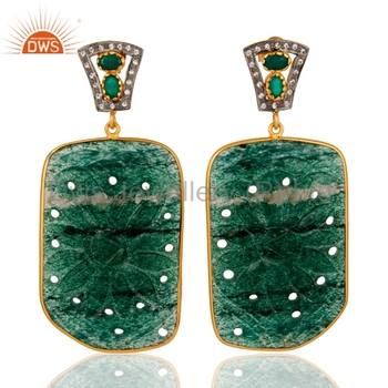Aventurine And Green Onyx Gemstone Earring 925 Silver Gold Plated ...