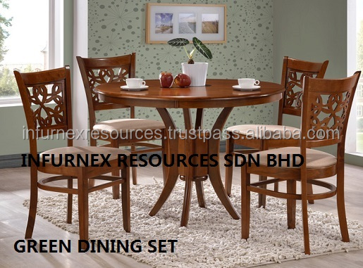Chair Round Dining Set Rubberwood Furniture Wooden Table Room Malaysia