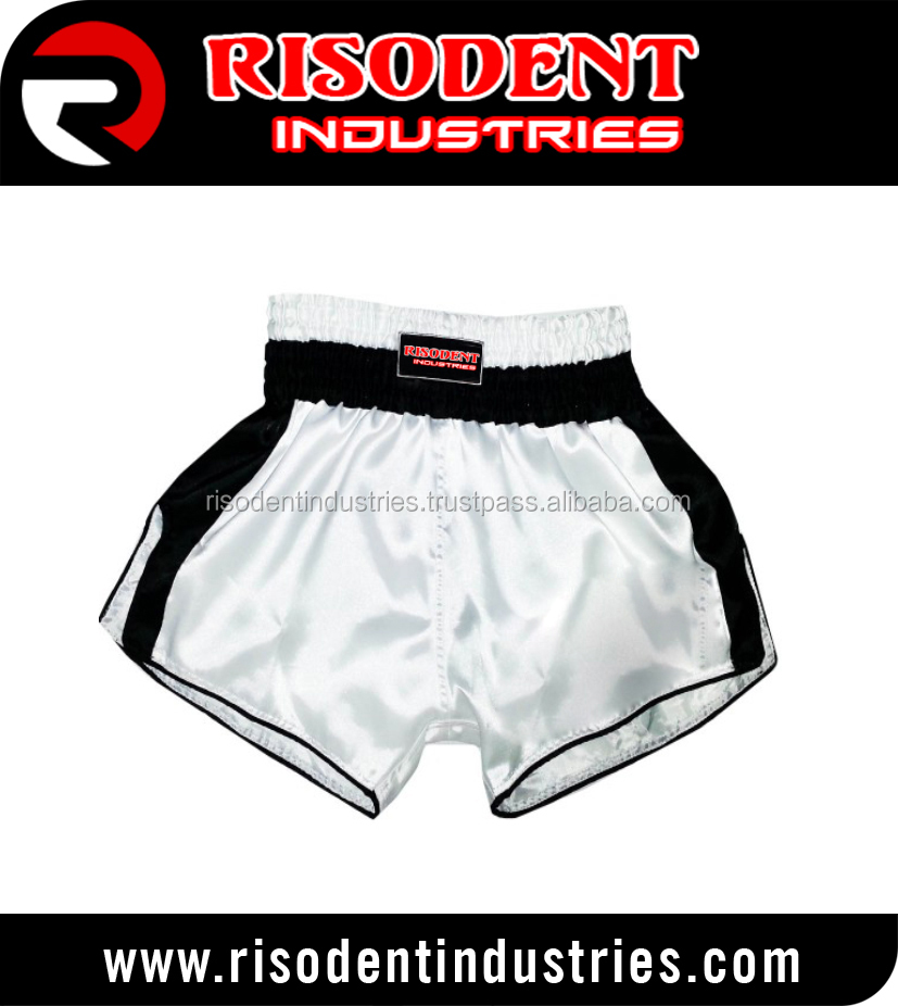 Muay Thai Boxing Shorts White with Text and Kanok Pattern