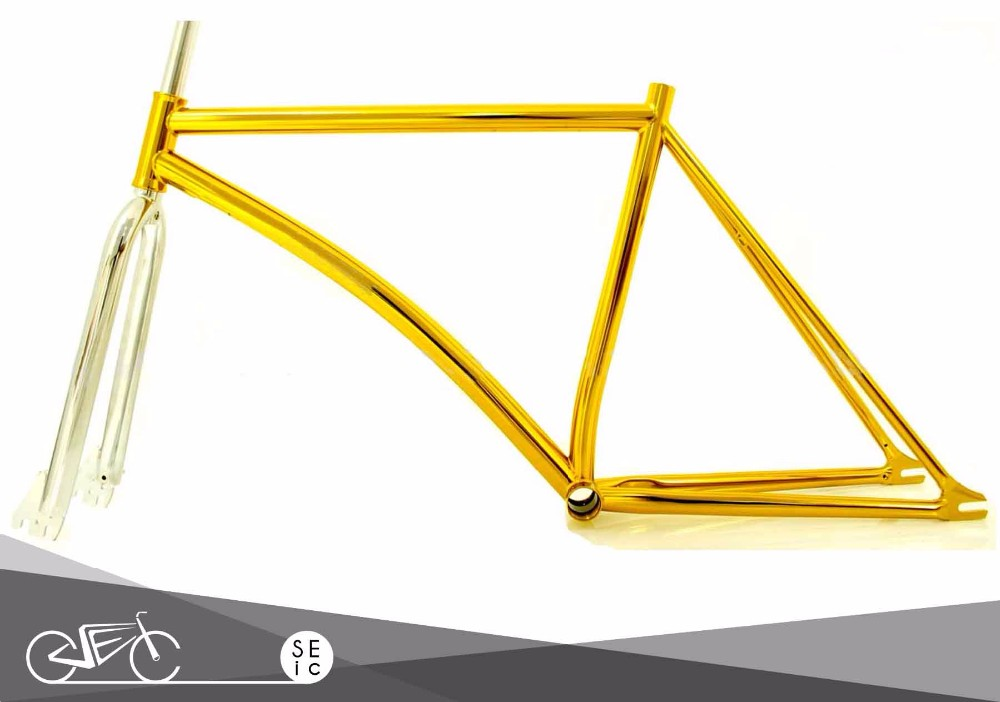 Single speed colored high polish track bicycle road bike steel frameset