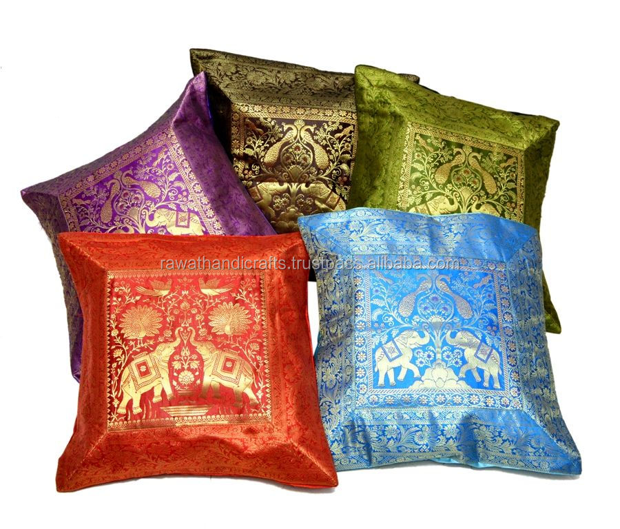 Elephant Embroidered Banarasi Brocade Work Silk Multi Pillow Cushion Covers Wholesale