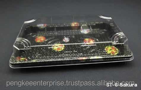 Plastic Box St-6 Sushi Tray W/lid