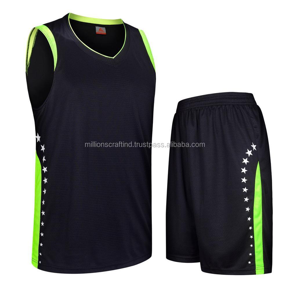 Black Green Basketball Uniform Kits Wholesale Basketball Jersey In