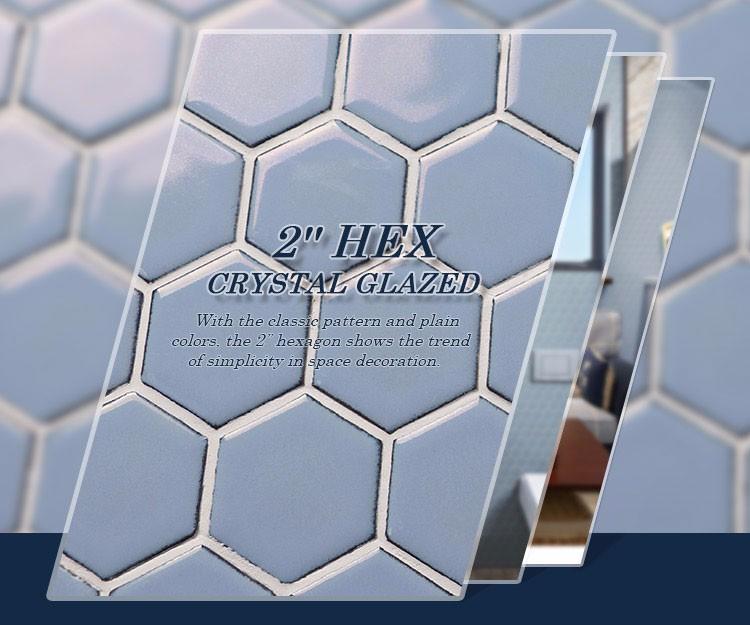 Badezimmer Designs Blau Grau Hexagonalen Kristall Glasierte Keramik Mosaik  Fliesen