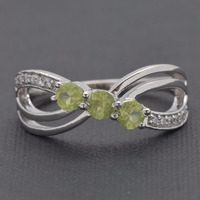 Customise 925 Sterling Silver Ring Green Peridot Color Stone Ring, CZ Ring , Woman Wear Jewelry