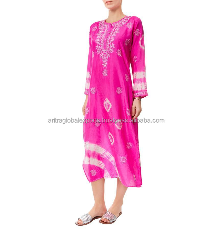 Silk Embroidered Long Kaftan Dress