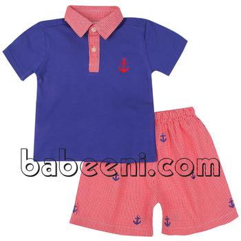 5937f6d6a Lovely Anchor Applique Polo Short Set For Boys - Buy Baby Boy ...