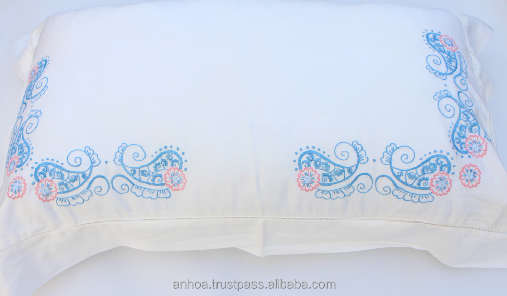 2014 design flower embroidered pillow case vietnam hand embroidery pillow cover