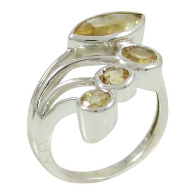 Citrine Gemstone Ring Jewelry Marked 925 Sterling Silver Women Ring Jewelry SJR4712A