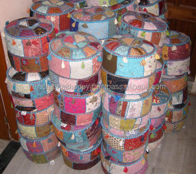 Jl Home Design Utah: Wholesale Lot Handicraft Indian Pouf Ottomans