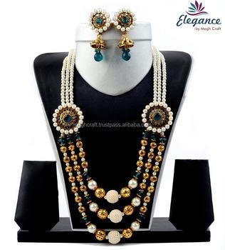 d5a63b6af81eac Fancy designer beaded pearl jewelry set - Handmade beaded meenkari jewellery  - imitation pearl jewelry set