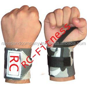 Black with one yellow strips weightlifting wrist wraps BY RC Fitness wear