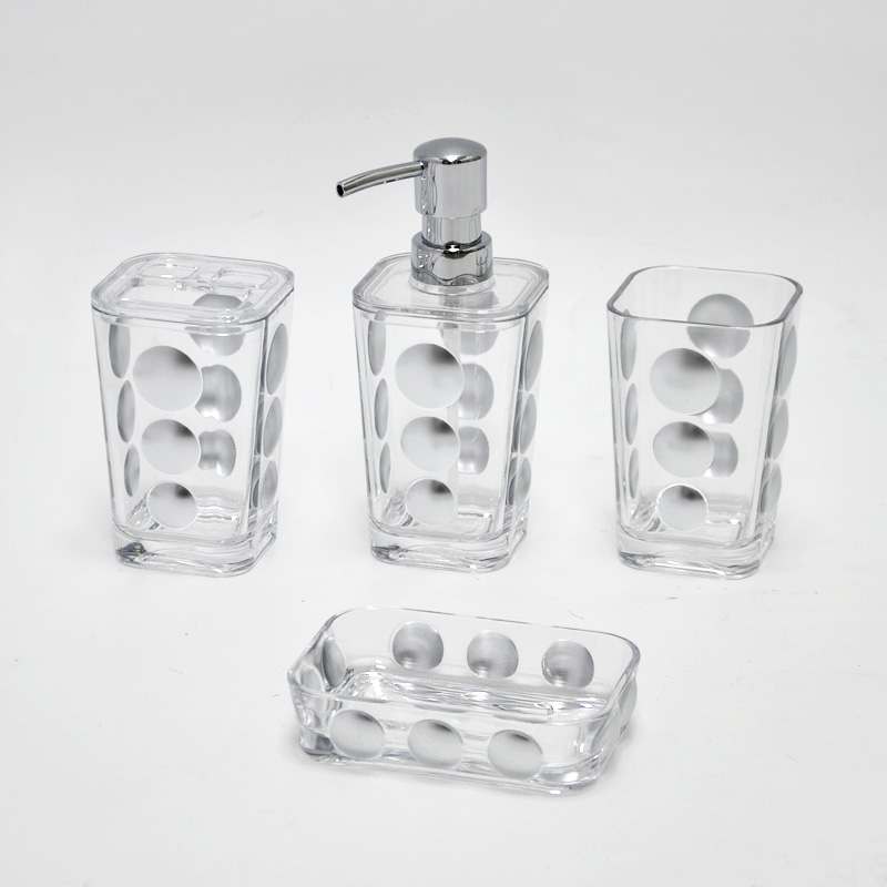 Hotel style clear acrylic crystal bathroom accessories for Clear bathroom accessories