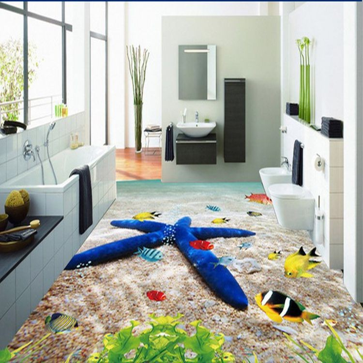 3d bathroom ceramic printed floor tiles modern living room for Bathroom 3d floor designs