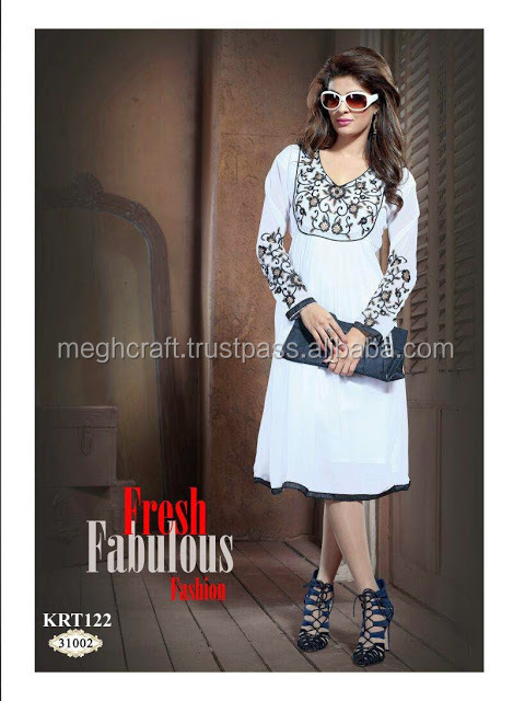Beach Wear Boho Embroidery Tunic-Bohemian Style Tops -Georgette Chikan Embroidered Long Kurti - Tunics - Tops