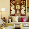 Thai gold leaf home decoration canvas 3d wall art peacock painting