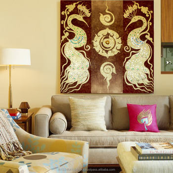 Thai Gold Leaf Home Decoration Canvas 3d Wall Art Peacock Painting ...