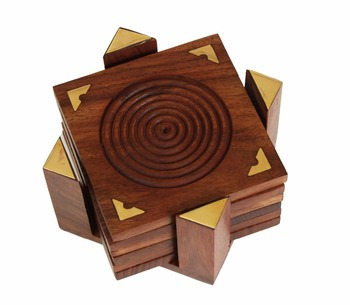 Wooden Drink Coasters Set Of 6 Hand Carved Square With Holder
