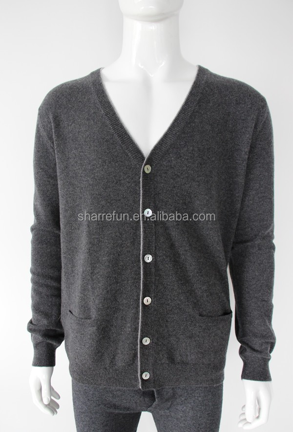 Luxury v neck button cardigan pure men cashmere sweater